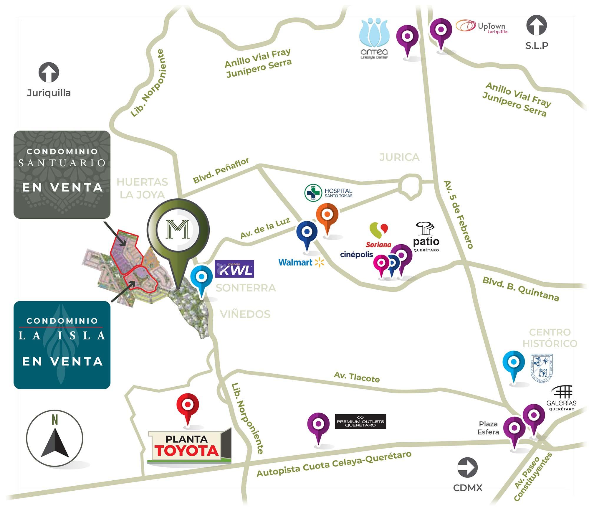 mapa condominio santuario